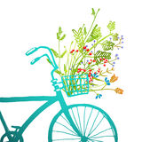 Retro Summer Bike with Bunch of Flowers Card Stock Photos