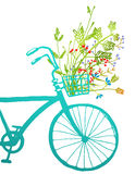 Retro Summer Bike with Bunch of Flowers Card Stock Image