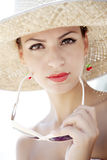 Retro summer girl. Retro styled young woman at the beach Royalty Free Stock Photography