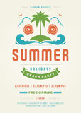 Retro Summer Holidays Beach Party Poster or Flyer Design Template Royalty Free Stock Photo
