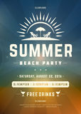 Retro Summer Holidays Beach Party Poster or Flyer Design Template Royalty Free Stock Photography