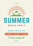 Retro Summer Holidays Beach Party Poster or Flyer Design Template Royalty Free Stock Image