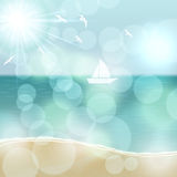 Retro summer illustration with ocean and yacht Royalty Free Stock Photo