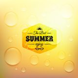 Retro summer label in doodle sketch style isolated Royalty Free Stock Photo