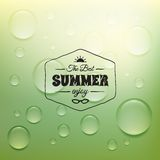 Retro summer label in doodle sketch style isolated Stock Images