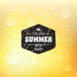 Retro summer label in doodle sketch style isolated Stock Photo