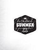 Retro summer label in doodle sketch style isolated Royalty Free Stock Images