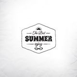 Retro summer label in doodle sketch style isolated Royalty Free Stock Image
