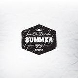 Retro summer label in doodle sketch style isolated. On glass background with rain drop, vintage calligraphic design card, holiday ornament, beach label element Stock Images