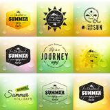 Retro summer label set in doodle sketch style. On glass background with rain drop, vintage calligraphic design card, holiday ornament, beach label element Stock Images