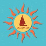 Retro summer label with sun, rays and boat Royalty Free Stock Photos