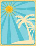 Retro summer label with sun, rays and palms Stock Photos