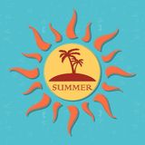 Retro summer label with sun, rays and palms Royalty Free Stock Photos