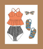 Retro summer outfit set. Lovely retro summer outfit set, orange, black and white Royalty Free Stock Photography