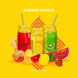 Retro summer party design poster with Juice Stock Photography
