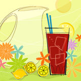 Retro Summer Refresh (Vector). Retro-inspired Ice Tea with pitcher and summer flowers. Each item is grouped so you can use them independently from the background Royalty Free Stock Photos