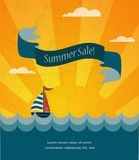 Retro summer sale poster, infographic illustration Royalty Free Stock Images