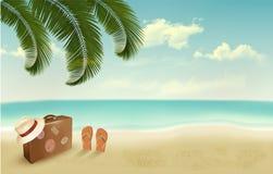 Retro summer vacation background. vector illustration
