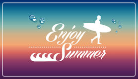 Retro summertime vacations poster. Vintage enjoy summer holidays man surfing board illustration. Vector file layered for easy manipulation and custom coloring Stock Photo