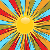 Retro sun. Retro style graphic with sun and rays in colors, abstract art Stock Photos