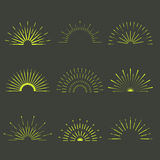 Retro Sun burst shapes. Vintage starburst logo, labels, badges. Royalty Free Stock Photography
