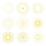 Retro Sun burst shapes. Vintage starburst logo, labels, badges. Royalty Free Stock Photo