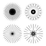 Retro Sun burst shapes. Vintage starburst logo, labels, badges. Royalty Free Stock Photos