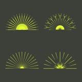 Retro- Sun-Explosionsformen Weinlese starburst Logo, Aufkleber, Ausweise Stockfoto