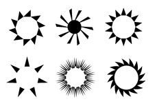 Retro sun icons. Sun icons in white background Royalty Free Stock Image