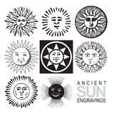 Retro sun icons (vector). Vector sun icons, retro engraving royalty free illustration