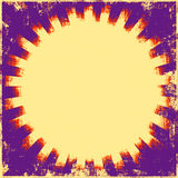 Retro Sunburst Grunge. Grunge background of purple, yellow and orange bright retro sunburst rays Stock Photos