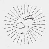 Retro Sunburst Hipster Design. Fiji Map. Retro Sunburst Hipster Design. Fiji Map Surrounded by Vintage Sunburst Rays. Trendy Hand Drawn Sun Rays Black Element Stock Photography