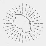 Retro sunburst hipster design. Tanzania, United. Retro Sunburst Hipster Design. Tanzania, United Republic of Map Surrounded by Vintage Sunburst Rays. Trendy Royalty Free Stock Images