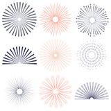 Retro sunburst, radiant and colored set. Stock Images
