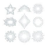 Retro sunburst, radiant starburst, vintage abstract sunshine line vector set Stock Photo
