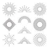 Retro sunburst rays. Radiant sunset or sunrise burst light lines. Abstract hand drawn sunsets vector symbols set. Retro sunburst rays. Radiant sunset or sunrise stock illustration