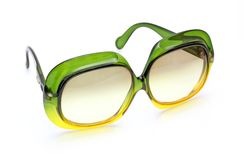 Retro sunglasses. Beautiful retro sunglasses green and yellow Stock Photography