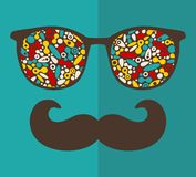 Retro sunglasses for hipster. Royalty Free Stock Photography