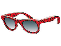Retro Sunglasses With Pattern Doodle isolated on white backgroun Stock Photography