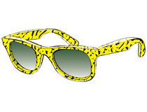 Retro Sunglasses With Pattern Doodle isolated on white backgroun Stock Images