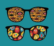 Retro sunglasses with reflection in it. Royalty Free Stock Photos