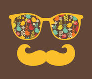 Retro sunglasses with reflection for hipster. Vector illustration of accessory - eyeglasses isolated. Best print for your t-shirt Stock Images