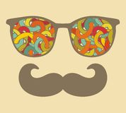 Retro sunglasses with reflection for hipster. Royalty Free Stock Image