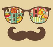 Retro sunglasses with reflection for hipster. Stock Photography