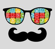 Retro sunglasses with reflection for hipster. Stock Photos