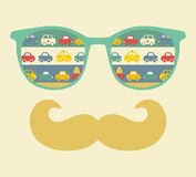 Retro sunglasses with reflection for hipster. Stock Photo