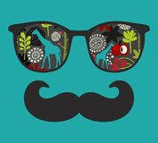 Retro sunglasses with reflection for hipster. Royalty Free Stock Photos