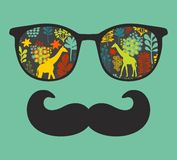 Retro sunglasses with reflection for hipster. Stock Image