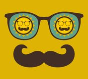 Retro sunglasses with reflection for hipster. Royalty Free Stock Images