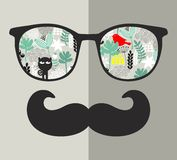 Retro sunglasses with reflection for hipster. Vector illustration of accessory - glasses isolated. Royalty Free Stock Photos